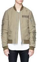 R 13 Distressed down padded bomber jacket