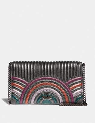 Coach Callie Foldover Chain Clutch With Colorblock Deco Quilting And Rivets
