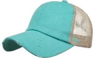 Doldoa Hats DOLDOA Ponycaps Baseball Hat Bike Breathable Cycling Cap Washed Distressed Ponytail Hat Adjustable Baseball Cap(#22)