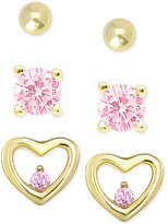 Macy's Children's 3-Pc. Set Pink Cubic Zirconia Stud Earrings in 18k Gold-Plated Sterling Silver
