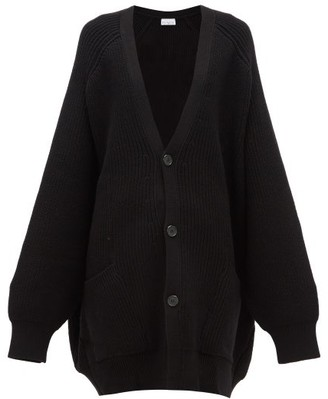 Raey Oversized Chunky-knit Wool Cardigan - Womens - Black