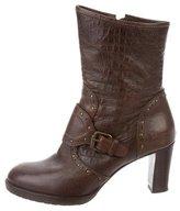 Henry Beguelin Embossed Stud-Embellished Ankle Boots
