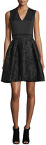 Carolina Herrera Sleeveless Combo Fit-&-Flare Dress, Black
