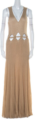 Roberto Cavalli Gold Rib Lurex Knit Waist Cut Out Detail Evening Dress M