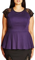 City Chic Plus Size Women's Lace Yoke Peplum Top