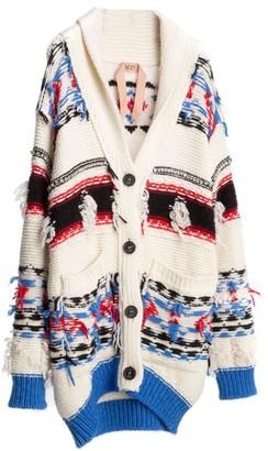No.21 Print Wool, Alpaca & Mohair-Blend Knit Cardigan