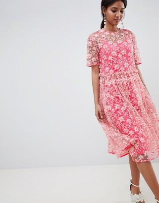 Asos Edition EDITION floral embellished drop waist smock midi dress-Pink