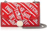 Jimmy Choo FINLEY Red and Rosewater Logo Tape Cross Body Mini Bag with Bow
