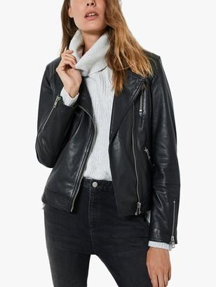 Mint Velvet Zip Up Leather Biker Jacket, Black
