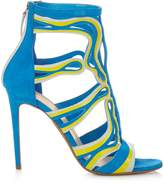 Peter Pilotto Cage leather and suede sandals