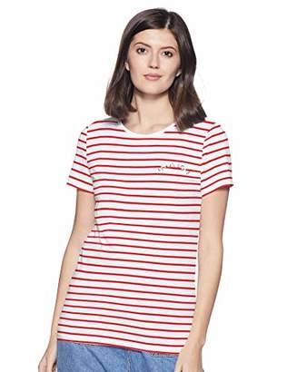 Only Women's Onlkita S/s Riviera Top Box JRS T-Shirt, Bright White Print: Speak1 (Flame Scarlet Stripes), 12 (Size: Medium)