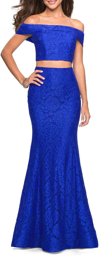 Thumbnail for your product : La Femme Stretch Lace Two-Piece Trumpet Gown