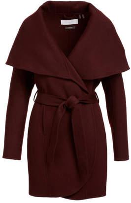 Tahari Women's Car Coats PORT - Port Wine Oversize Collar Wrap Coat - Women