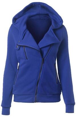 CUTUDE Women's Plus Size Hooded Pullover Thermal Long Hoodie Zip Up Jacket Warm Coat Casual Fleece Crew Neck Sweatshirt Vintage Winter Cardigan (White S)