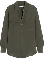Equipment Slim Signature Washed-silk Shirt - Army green