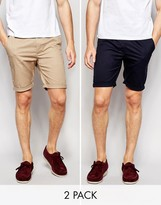 Asos 2 Pack Skinny Chino Shorts In Navy And Stone