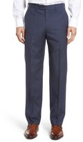 JB Britches Men's Flat Front Check Wool Trousers