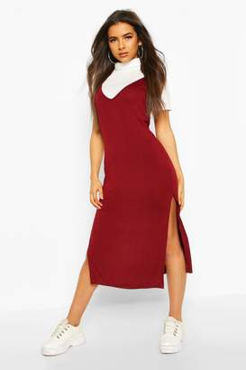 boohoo Roll Neck Layered T-shirt Midi Slip Dress