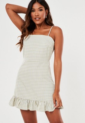Missguided Mint Check Ruffle Hem Slip Dress