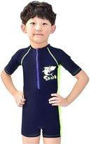 JELEUON Baby Boys Kids One Piece Short Sleeve Cartoon Print UV Sun Protection Swimsuit