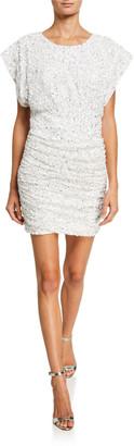 Jay Godfrey Isobel Sequin Draped Bodice Shirred Mini Dress