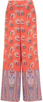 Etro Printed Silk Crepe De Chine Wide-leg Pants - Coral