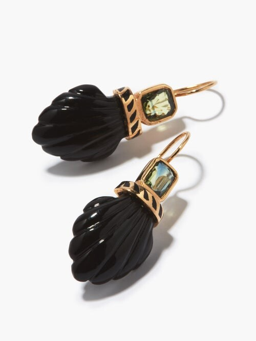 Thumbnail for your product : Dezso Deco Sapphire, Onyx & 18kt Rose-gold Earrings - Black