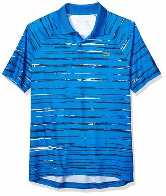 Lacoste Mens Sport Short Sleeve Novak Printed Raglan Polo Polo Shirt