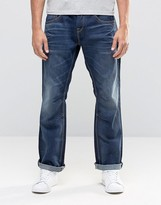 Jack and Jones Dark Blue Washed Jeans In Loose Fit With Engineered Details