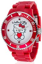 Hello Kitty Girl's Quartz Watch with White Dial Analogue Display and Red Plastic Strap 1004–22