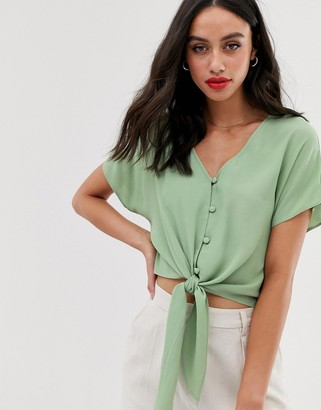 Asos Design DESIGN short sleeve button front top with tie detail-Green