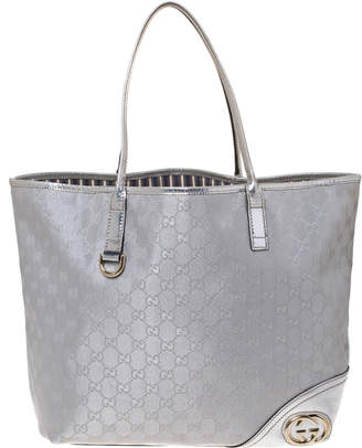 Gucci Metallic Grey GG Canvas and Leather New Britt Tote