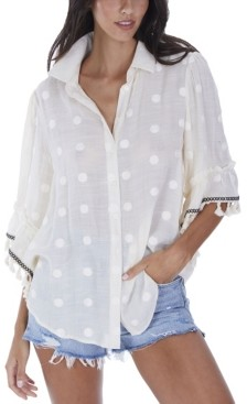 Allison New York Women's Embroidered Blouse with Fringe Trim