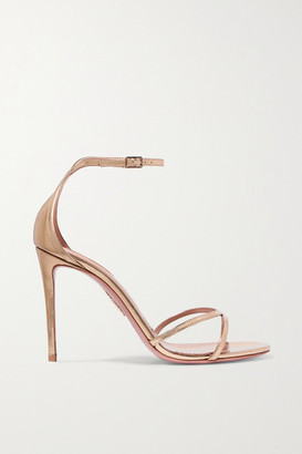 Aquazzura Purist 105 Mirrored-leather Sandals - Gold