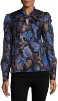 Anna Sui Women's Lame Floral Print Blouse