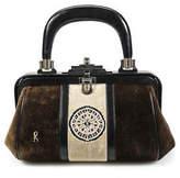 Roberta Di Camerino Brown Velvet Bagonghi Slide Lock Mini Satchel Handbag