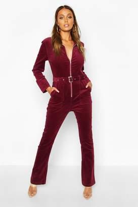 boohoo Zip Through Slim Fit Cord Flare Jumpsuit