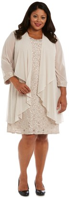 R & M Richards R&M Richards Lace Shift and Sheer Chiffon OpenJacket Set