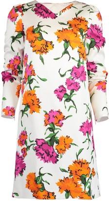 Escada Printed Wide V-Neck Dress