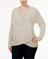 INC International Concepts Plus Size Cowl-Neck Surplice Sweater, Only at Macy's