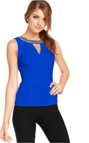 XOXO Juniors' Beaded Cutout-Back Top