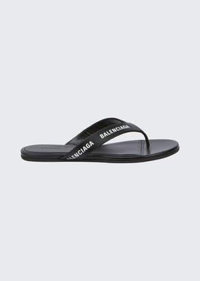 Balenciaga Leather Logo Thong Sandals