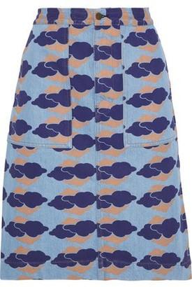 Acne Studios Steel Appliqued Printed Denim Skirt