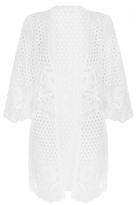 Quiz White Crochet Lace 3/4 Sleeve Jacket