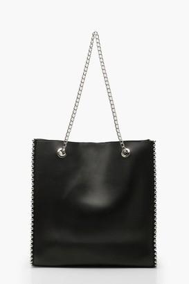 boohoo Premium PU & Metal Bead Detail Tote Bag