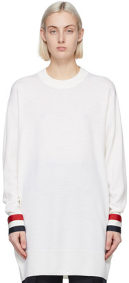 Thom Browne White Merino Oversized Fit Sweater