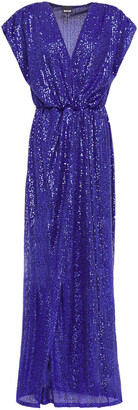 Just Cavalli Wrap-effect Sequined Tulle Gown