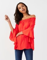 Star by Julien Macdonald Witchy Hem Sleeve Pleated Bardot Top