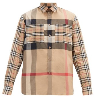 Burberry Tisford Checked Cotton-blend Shirt - Beige