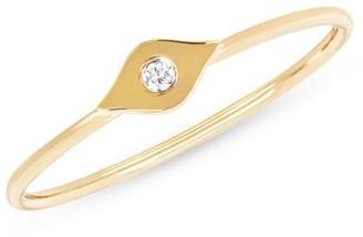 Ef Collection 14K Gold & Diamond Evil Eye Ring